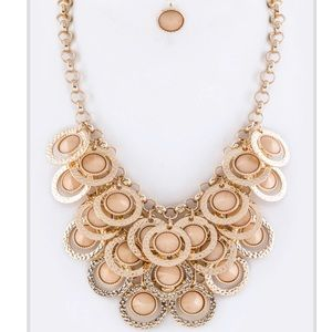 Tan & Gold Fashion Statement Necklace Jewelry Set